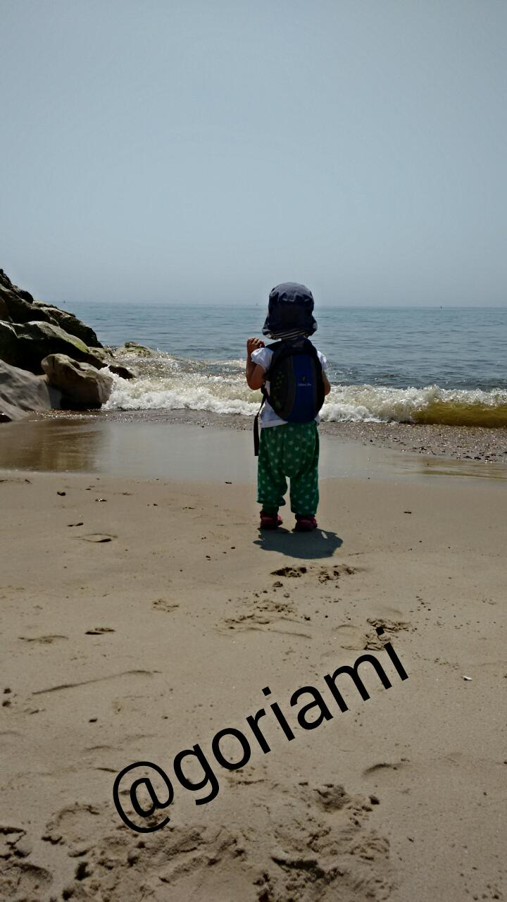 Toddler Paddling in sea