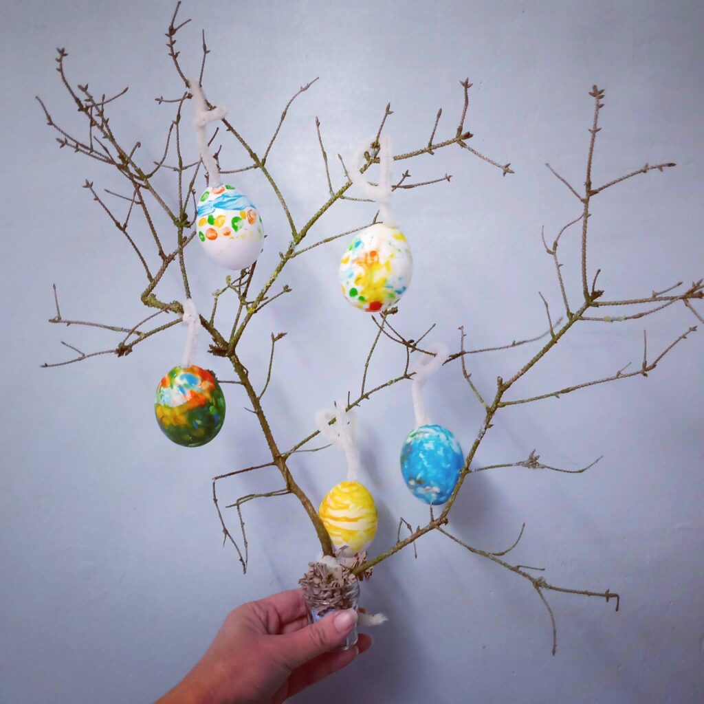 Easter Tree - made using a small branch and decorated with hand painted eggs