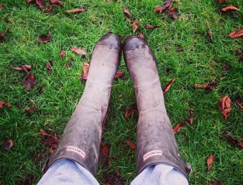 hunter wellies with grass background